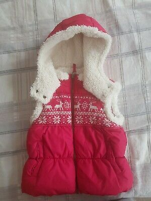 Next Girl Red Hooded Bodywarmer Gilet Size 5-6 Years