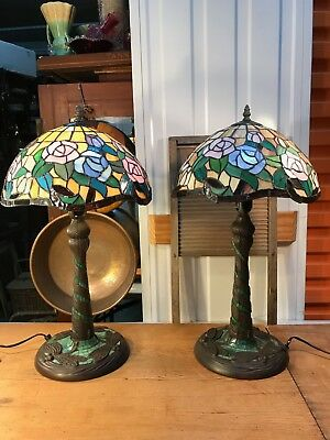 Pair of Tiffany Style Leadlight Lamps Rose & Dragonfly Motifs Working