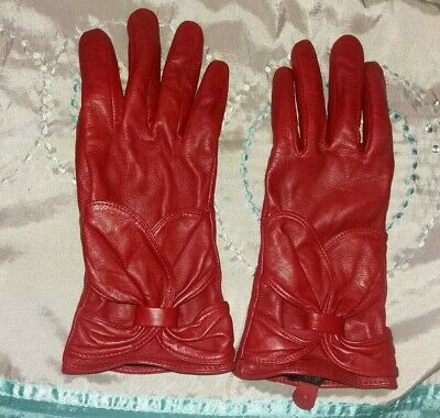 Vintage 1990s Red Leather Gloves Driving