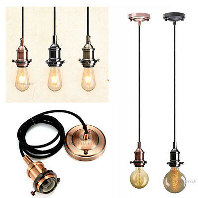 Modern Vintage Fabric Flex Cable Light Lamp Pendant chandelier E27 Holder set