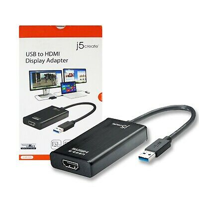 J5 CREATE USB to HDMI Display Adapter Compatible with MacOS/Windows - Black  - DP
