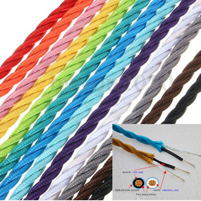 2 core fabric Twisted Italian Colour braided lighting cable flex cord Vintage UK
