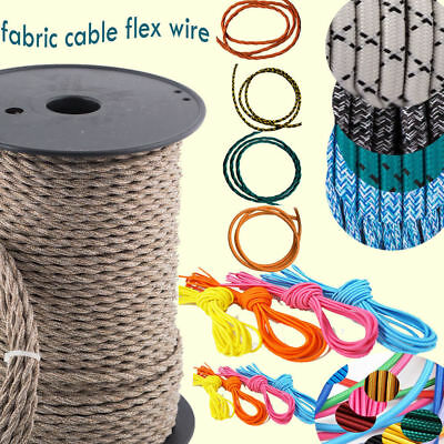 0.75mm Vintage 3 Core multi Colour Twisted/Round Braided Fabric Cable Flex Wire