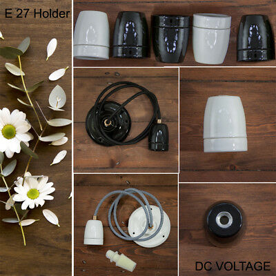 E27 Socket Antique Vintage retro Ceramics Lamp Holder/Cord grip Black and White