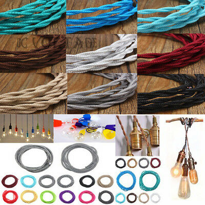 Vintage Fabric Colored Two Core Twist Silk braided fabric cable flex Lamp UK