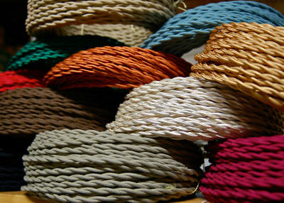 3Core Twisted Silk Vintage Braided  Fabric Coloured Lighting Cable 0.75mm UK