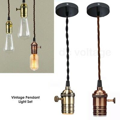 Vintage Ceiling Rose Braided Pendant Fabric Flex Lamp Holder Fitting Light Kit