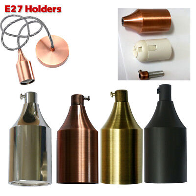 E27 Edison Retro Vintage Style Pendant Lamp Light Holder Bulb Screw Socket-UK