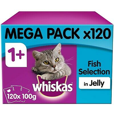 Whiskas 1+ Adult Wet Cat Food Pouches Fish Selection in Jelly 120x100g Pouches