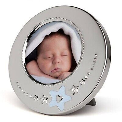 Whitehill Silver Plated Photo Frame - Baby Blue Star 12cm Round