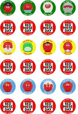 24 x PRECUT RED NOSE DAY/COMIC RELIEF RICE/WAFER PAPER CUP CAKE TOPPERS
