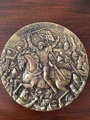 Beautiful rare antique bronze medal dedicated to aljubarrota battle