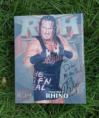 RHINO Signed 10x8 Photo WWE WRESTLING Champion WWF
