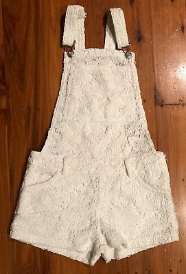 Girl's White Crochet Overalls by Gum/Pavement (Size XS/12, more like a Size 10)