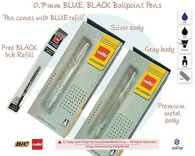 0.7mm Tip BIC CELLO Knight BLUE BLACK Retractable Light Weight Ballpoint Pen