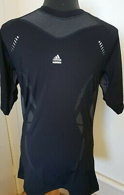 b12159750 Mens Adidas Techfit Compression Shirt Black Short Sleeve Top UK M L  Climacool EE