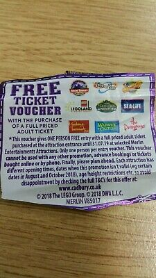 Free ticket voucher Chessington Alton towers Thorpe park sea life tussauds lego