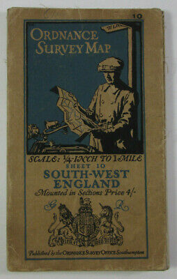 1926 Old OS Ordnance Survey Quarter-Inch Third Edition Map 10 England South West