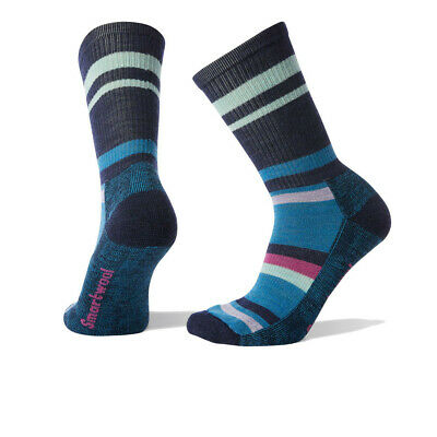 Smartwool Mujer Hike A Rayas Claro Crew Calcetines Azul Navy Deporte