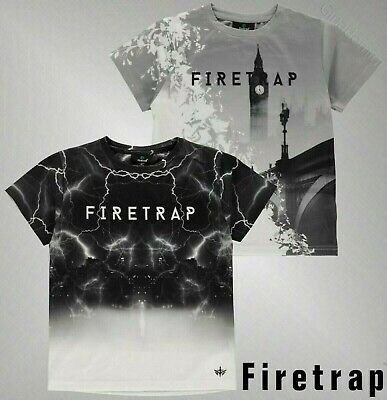 Boys Firetrap Short Sleeves Crew Neck Top Print Sub T Shirt Sizes Age 4-13 Yrs