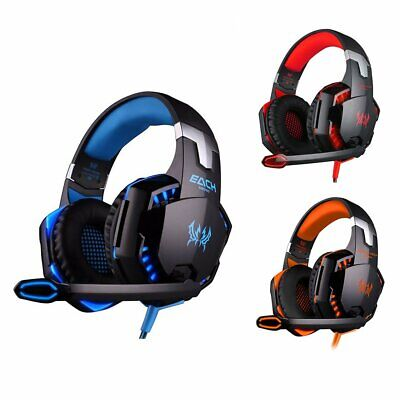 EACH 3.5mm Gaming Headset Mic LED Stereo Surround For PC Laptop PS4 Xbox One 360