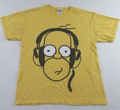 Incredible The Simpsons Homer Simpson With Headphones Yellow Ss T Shirt Size L Download Free Architecture Designs Scobabritishbridgeorg
