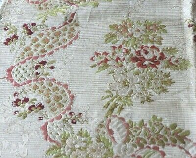 "Antique French c1760 18thC Silk Brocade Roses & Lace Motif Fabric~L-33"" X W-20"""