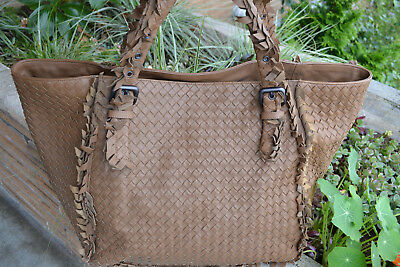 086577f228f1 Authentic Bottega Veneta Chene Brown Fringed Intrecciato Leather Tote
