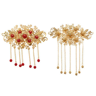 2Pcs Chinese Wedding Bridal Crystal Hair Clip Comb Beaded Flower Headpiece