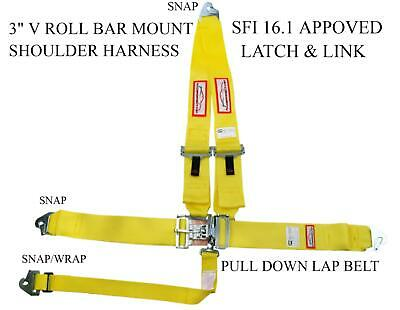 Clip In Sfi 16.1 Racing Harness V Roll Bar Mount Latch & Link Yellow
