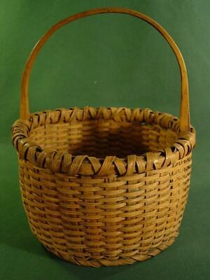 Primitive Farmhouse Antique Oak Splint Carved Handle Basket Smallish Size Nice!