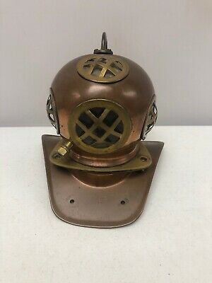 Unique Vintage Heavy Brass Copper Nautical Mini Scuba Diver Helmet
