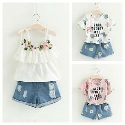 Girls set 2 pcs Top Shorts sets Sleeveless Outfit Summer Set Age 2 3 4 5 6 7 yrs