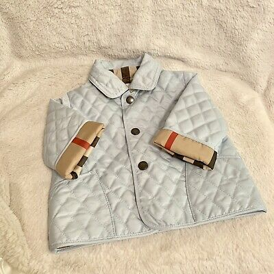 eb11d79db NWT BURBERRY BABY Colin Quilted Jacket Check Lining Ice Blue Cotton ...