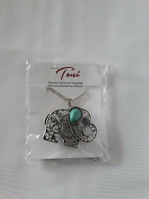 """Silver Colored Elephant With Turquoise Pendant or Brooch 18"""" Chain With Extender"""