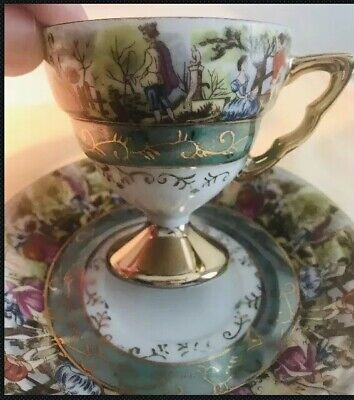 Vintage Royal Crown Tea Cup & Saucer #2293 1950's Fragonard Love Story Demitasse