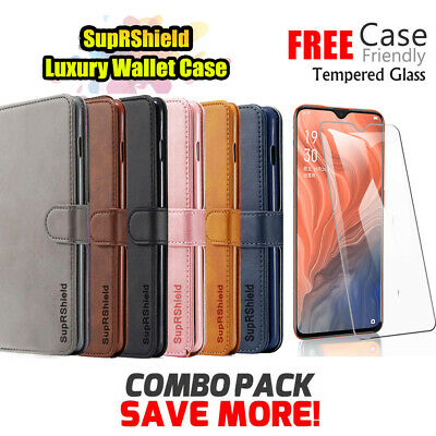 Wallet Leather Flip Case Cover Oppo AX5 AX5S AX7 A3S R17 Pro + Screen Protector