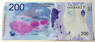 ARGENTINA BANKNOTE 200 Pesos, P.New UNC 2018 - Southern Right Whale SERIE F