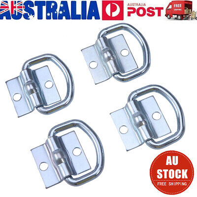 4 Pcs Lashing D Ring Metal Plated Tie Down Points Anchor Ute Trailer 56X55Mm AU