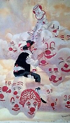 "Clown, Painting Clowns, Needlepoint Completed, 18"" X 14"" , And Fabric Paint"