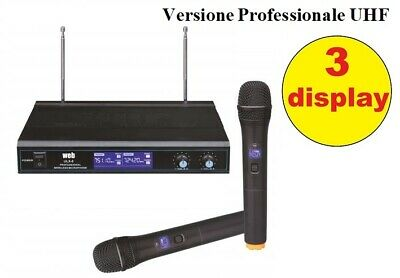 "COPPIA RADIO MICROFONI WIRELESS senza fili UHF ""PRO"" CON 3 DISPLAY BI-CANALE"