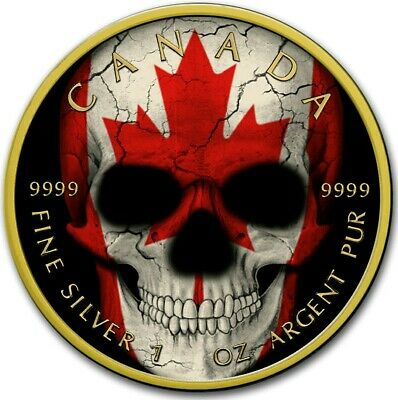 2019 1 Oz Silver $5 Canadian FLAG SKULL Maple Leaf Coin WITH 24K GOLD GILDED.