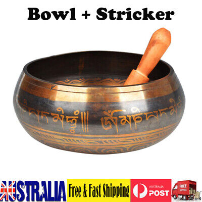 Buddhism Tibetan Meditation Large Yoga Singing Bowl+Wood Striker Set Brown Bowl