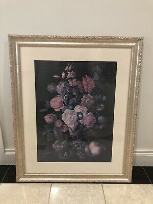 Floral Print with ornate glass frame