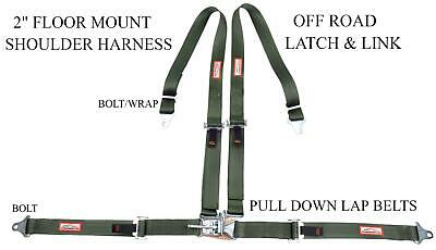 "Sand Rail 4 Point 2"" Racing Harness Latch & Link Floor Mount Military Green"