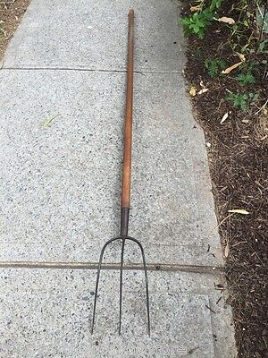 Large Antique Timber & Cast Iron Country Garden Display Man Cave Pitch Fork