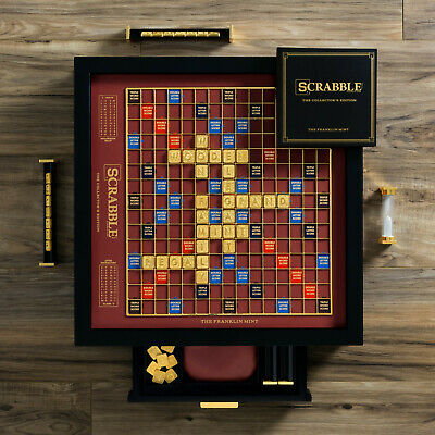 Scrabble Franklin Mint Collectors Edition Rotating Wood Gameboard 18k Gold Tiles