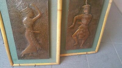 Lovely Pair of Antique Copper and Bamboo Framed Thai Dancers Art