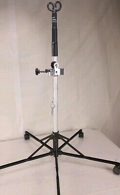 PITCH-IT by SHARPS FOLDABLE PORTABLE IV POLE STAND 5 ROLLER DOUBLE HOOK
