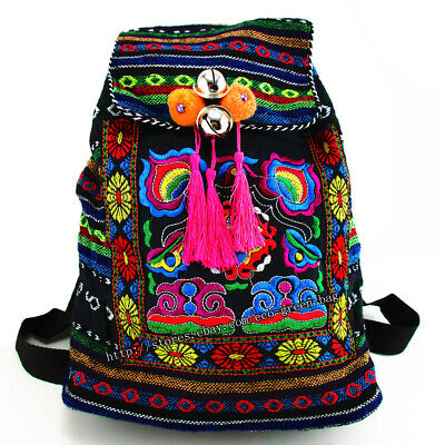 ed702d0b84 Hmong Tribal Ethnic Thai Indian rucksack embroidery Boho Hippie backpack bag  17B